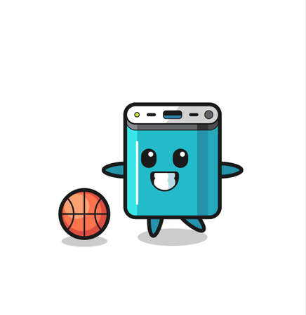 Illustration of power bank cartoon is playing basketball , cute style design for t shirt, sticker, logo element