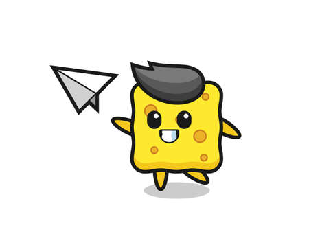 sponge cartoon character throwing paper airplane , cute style design for t shirt, sticker, logo element