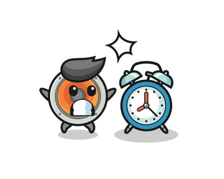 Cartoon Illustration of loudspeaker is surprised with a giant alarm clock , cute style design for t shirt, sticker, logo element Logos