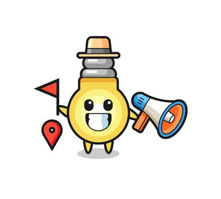 Character cartoon of light bulb as a tour guide , cute style design for t shirt, sticker, logo element Logó