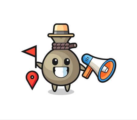 Character cartoon of money sack as a tour guide , cute style design for t shirt, sticker, logo element Logó