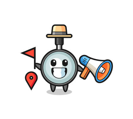 Character cartoon of magnifying glass as a tour guide , cute style design for t shirt, sticker, logo element