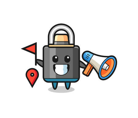 Character cartoon of padlock as a tour guide , cute style design for t shirt, sticker, logo element