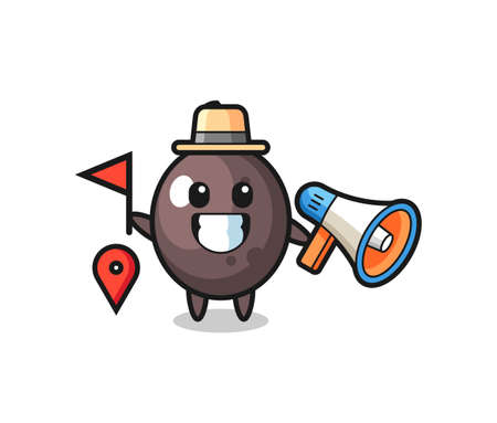 Character cartoon of black olive as a tour guide , cute style design for t shirt, sticker, logo element