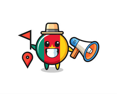 Character cartoon of cameroon flag badge as a tour guide , cute style design for t shirt, sticker, logo element Logó