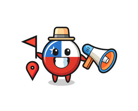 Character cartoon of chile flag badge as a tour guide , cute style design for t shirt, sticker, logo element