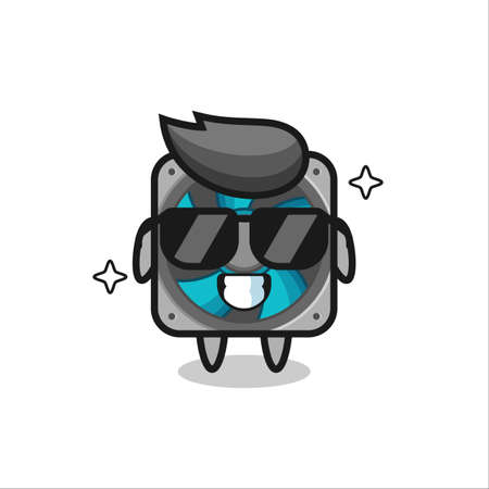 Cartoon mascot of computer fan with cool gesture , cute style design for t shirt, sticker, logo element