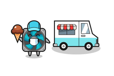 Mascot cartoon of computer fan with ice cream truck , cute style design for t shirt, sticker, logo element