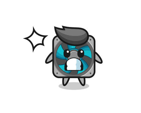 computer fan character cartoon with shocked gesture , cute style design for t shirt, sticker, logo element