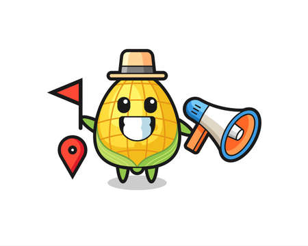 Character cartoon of corn as a tour guide , cute style design for t shirt, sticker, logo element