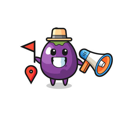 Character cartoon of eggplant as a tour guide , cute style design for t shirt, sticker, logo element