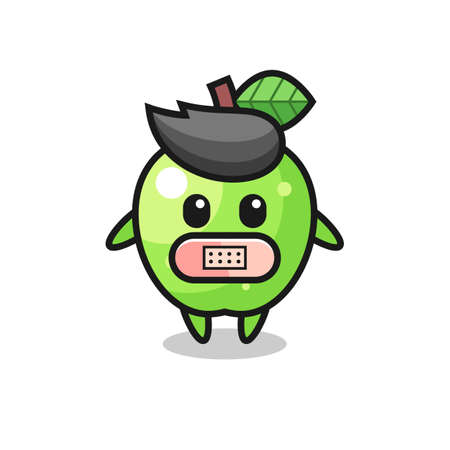 Cartoon Illustration of green apple with tape on mouth , cute style design for t shirt, sticker, logo element