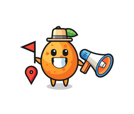 Character cartoon of kumquat as a tour guide , cute style design for t shirt, sticker, logo element