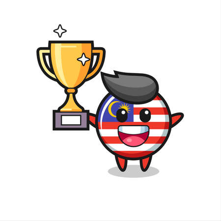 Cartoon Illustration of malaysia flag badge is happy holding up the golden trophy , cute style design for t shirt, sticker, logo element