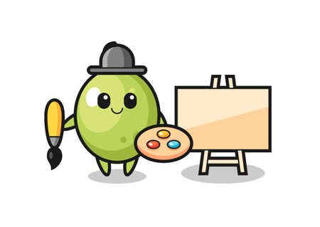 Illustration of olive mascot as a painter , cute style design for t shirt, sticker, logo element
