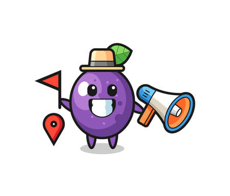 Character cartoon of passion fruit as a tour guide , cute style design for t shirt, sticker, logo element Logó