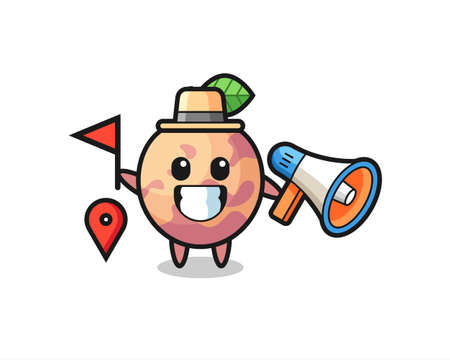 Character cartoon of pluot fruit as a tour guide , cute style design for t shirt, sticker, logo element