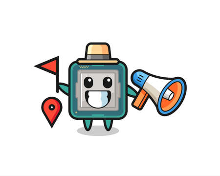 Character cartoon of processor as a tour guide , cute style design for t shirt, sticker, logo element