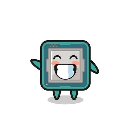 processor cartoon character doing wave hand gesture , cute style design for t shirt, sticker, logo element