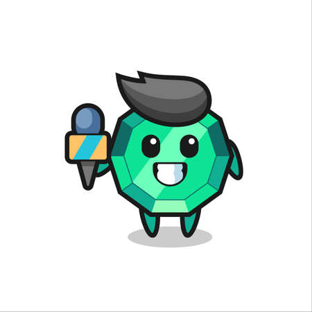 Character mascot of emerald gemstone as a news reporter , cute style design for t shirt, sticker, logo element