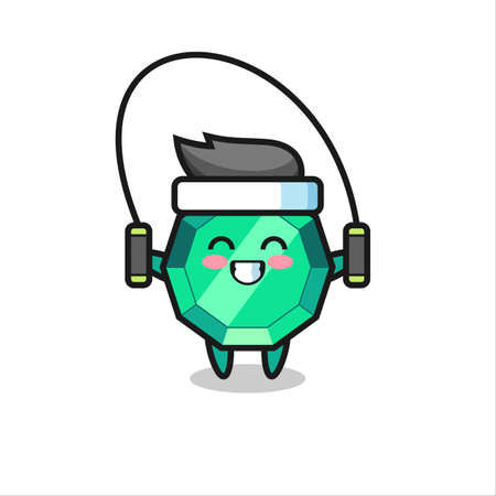 emerald gemstone character cartoon with skipping rope , cute style design for t shirt, sticker, logo element