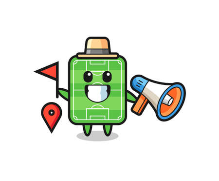 Character cartoon of football field as a tour guide , cute style design for t shirt, sticker, logo element Logó