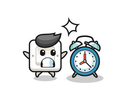 Cartoon Illustration of light switch is surprised with a giant alarm clock , cute style design for t shirt, sticker, logo element Logo