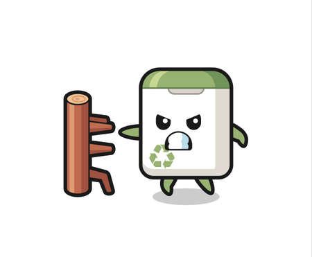trash can cartoon illustration as a karate fighter , cute style design for t shirt, sticker, logo element