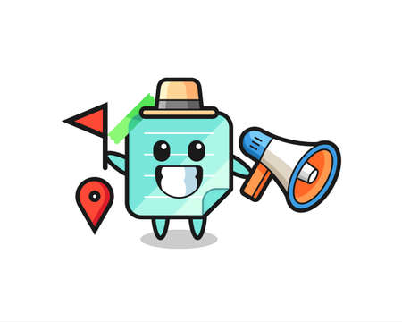 Character cartoon of sticky notes as a tour guide , cute style design for t shirt, sticker, logo element