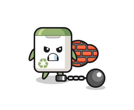 Character mascot of trash can as a prisoner , cute style design for t shirt, sticker, logo element