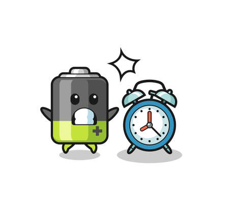 Cartoon Illustration of battery is surprised with a giant alarm clock , cute style design for t shirt, sticker, logo element Logos