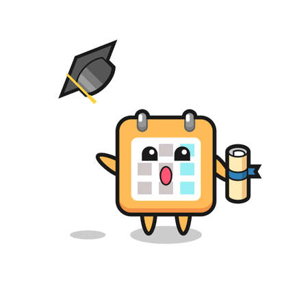 Illustration of calendar cartoon throwing the hat at graduation , cute style design for t shirt, sticker, logo element Logo