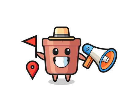 Character cartoon of flowerpot as a tour guide , cute style design for t shirt, sticker, logo element