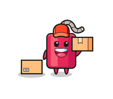 Mascot Illustration of dynamite as a courier , cute style design for t shirt, sticker, logo element