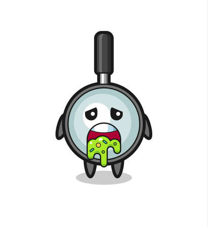 the cute magnifying glass character with puke , cute style design for t shirt, sticker, logo element