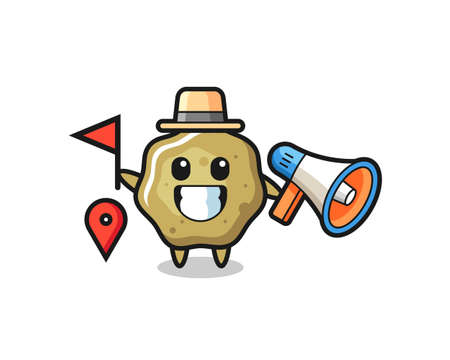 Character cartoon of loose stools as a tour guide , cute style design for t shirt, sticker, logo element Logó