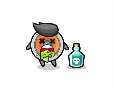 illustration of an loudspeaker character vomiting due to poisoning , cute style design for t shirt, sticker, logo element Logo