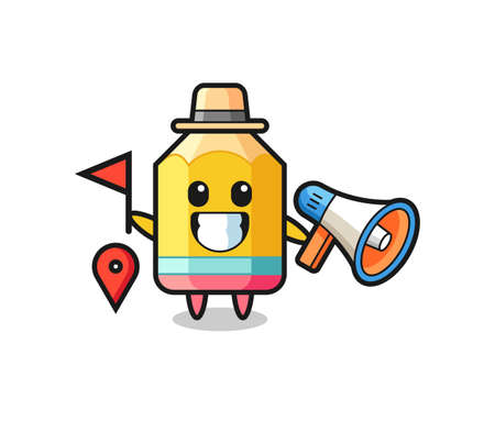 Character cartoon of pencil as a tour guide , cute style design for t shirt, sticker, logo element Logó