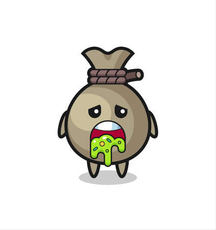 the cute money sack character with puke , cute style design for t shirt, sticker, logo element