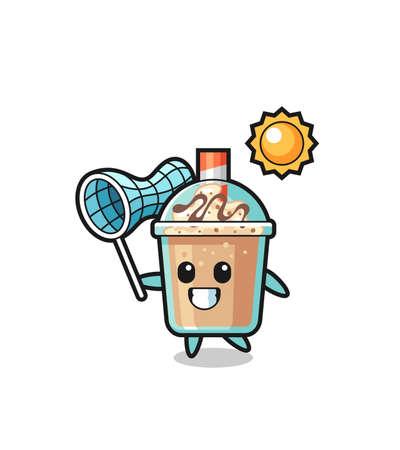 milkshake mascot illustration is catching butterfly , cute style design for t shirt, sticker, logo element Logo