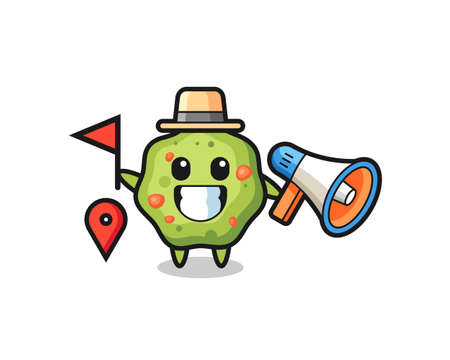 Character cartoon of puke as a tour guide , cute style design for t shirt, sticker, logo element