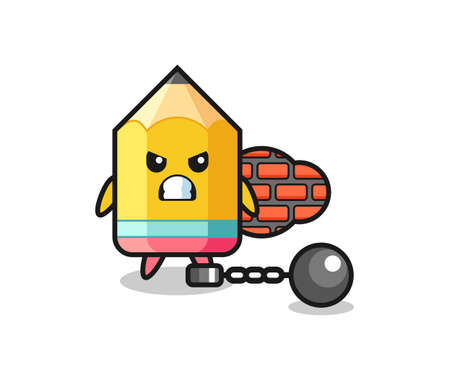 Character mascot of pencil as a prisoner , cute style design for t shirt, sticker, logo element Logo