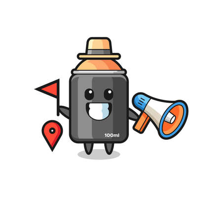 Character cartoon of spray paint as a tour guide , cute style design for t shirt, sticker, logo element