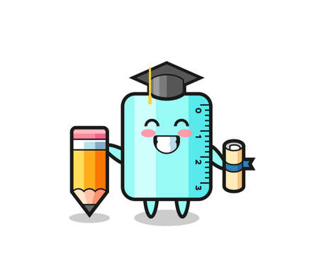 ruller illustration cartoon is graduation with a giant pencil , cute style design for t shirt, sticker, logo element