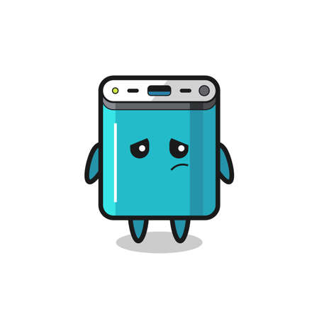 the lazy gesture of power bank cartoon character , cute style design for t shirt, sticker, logo element