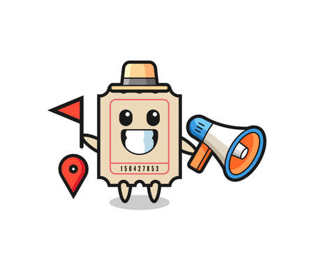 Character cartoon of ticket as a tour guide , cute style design for t shirt, sticker, logo element Logó