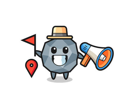 Character cartoon of stone as a tour guide , cute style design for t shirt, sticker, logo element Logó
