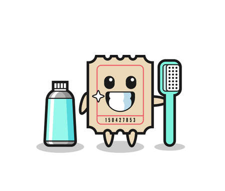 Mascot Illustration of ticket with a toothbrush , cute style design for t shirt, sticker, logo element Logos