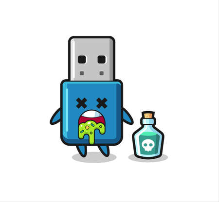 illustration of an flash drive usb character vomiting due to poisoning , cute style design for t shirt, sticker, logo element