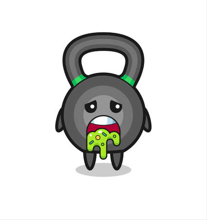 the cute kettleball character with puke , cute style design for t shirt, sticker, logo element Logo